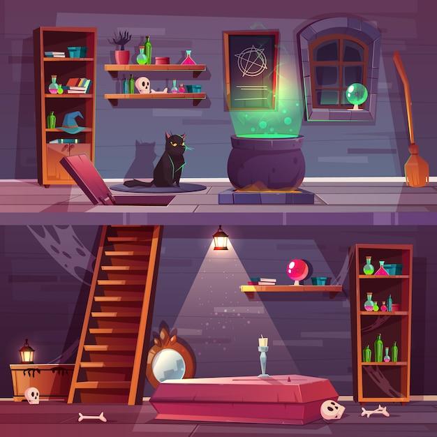 Fond de jeu de maison de sorcière avec cave Vecteur gratuit