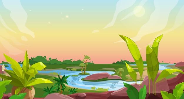 Fond De Jeu De Paysage Nature Dessin Animé Vecteur Premium