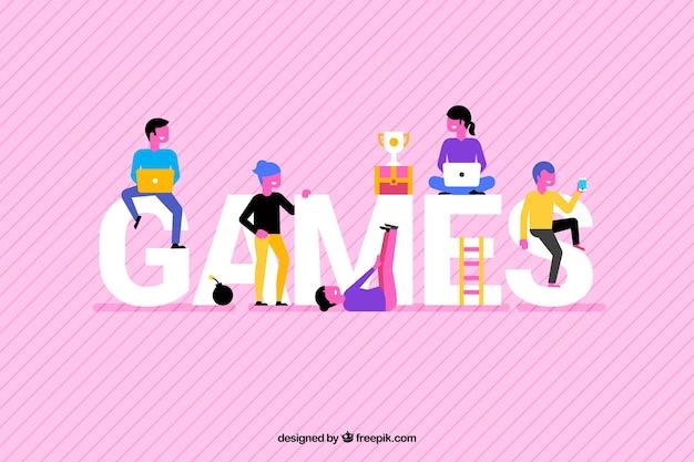 Fond de jeux avec des gens colorés Vecteur gratuit