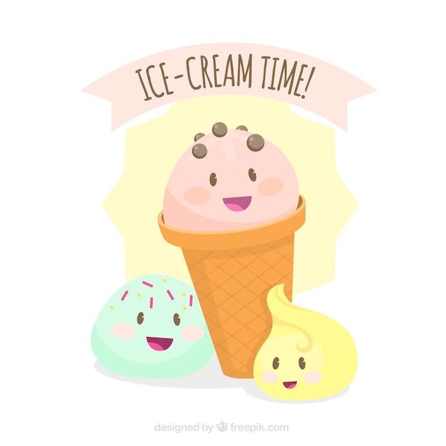 Fond d'une jolie glace aux tons pastels Vecteur gratuit