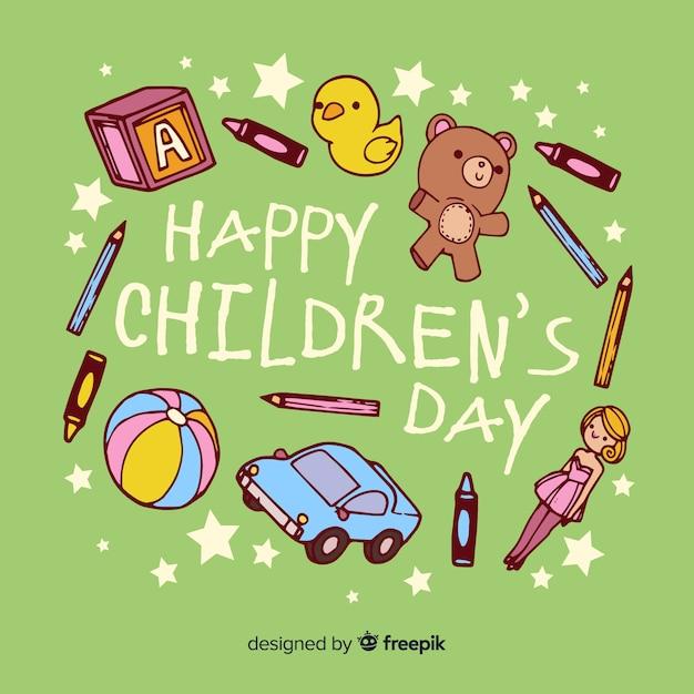 Fond De Jouets De Jour Pour Enfants Dessinés à La Main Vecteur gratuit