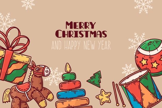 Fond De Jouets De Noël Dessinés à La Main Vecteur gratuit