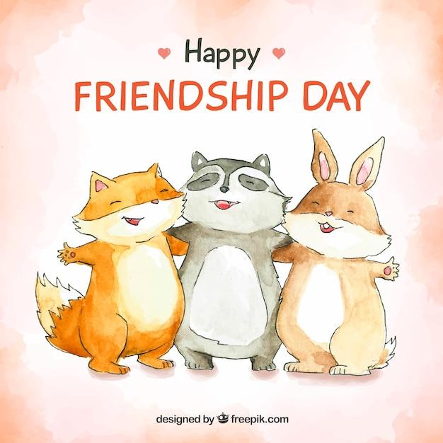 Fond de jour de l'amitié avec des animaux heureux Vecteur gratuit