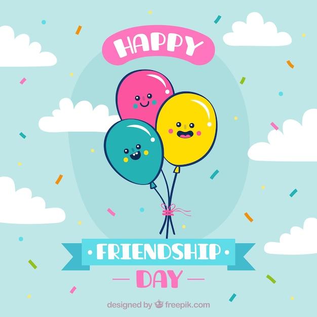 Fond de jour de l'amitié avec des ballons mignons Vecteur gratuit