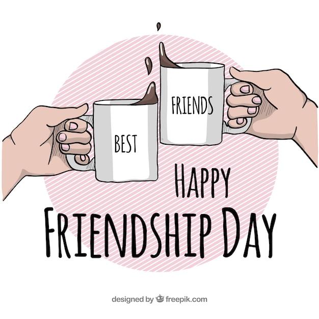 Fond de jour de l'amitié avec des tasses à café Vecteur gratuit