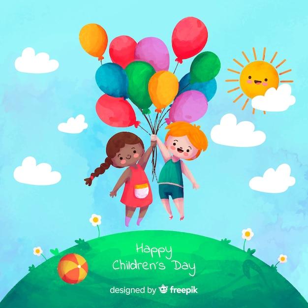 Fond De Jour De L'aquarelle Pour Enfants Vecteur gratuit