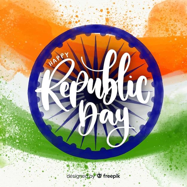 Fond de jour aquarelle république indienne Vecteur gratuit