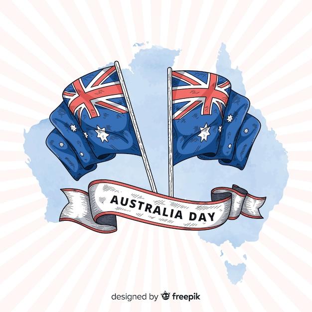 Fond de jour australie dessinés à la main Vecteur gratuit