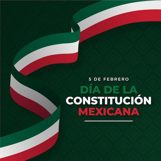 Fond De Jour De Constitution Avec Drapeau Mexicain Vecteur gratuit