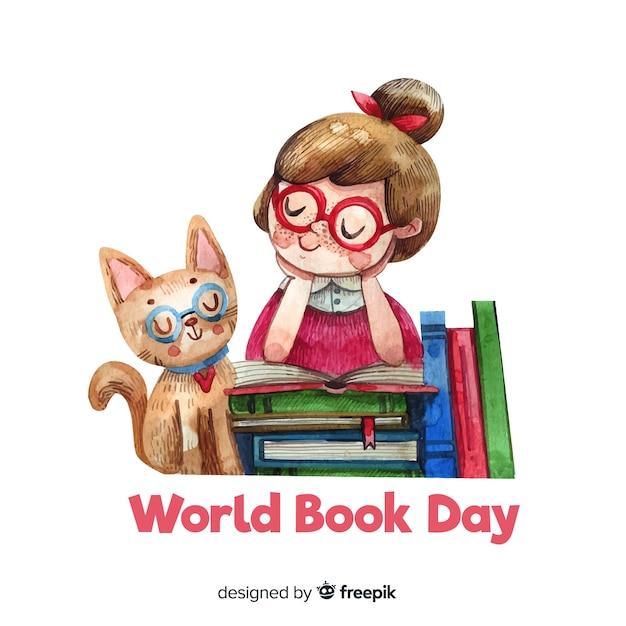 Fond de jour du livre monde aquarelle Vecteur gratuit