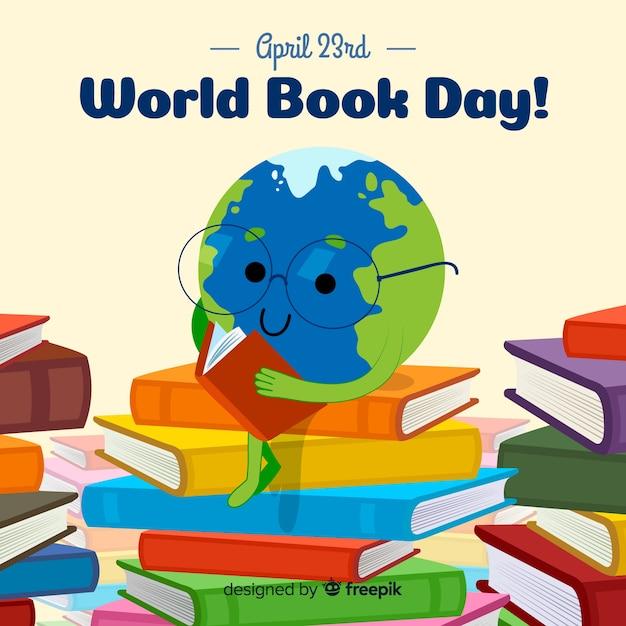 Fond de jour du livre monde dessiné à la main Vecteur gratuit