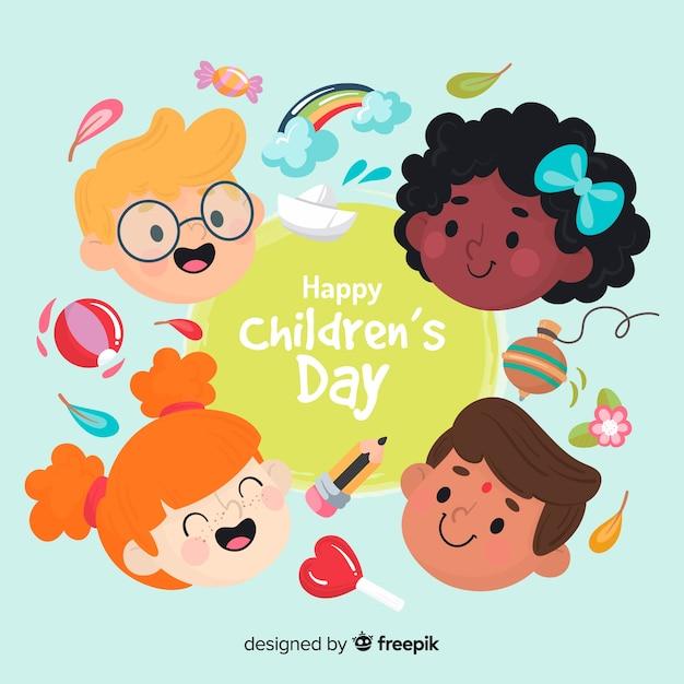 Fond de jour des enfants dessinés à la main Vecteur gratuit