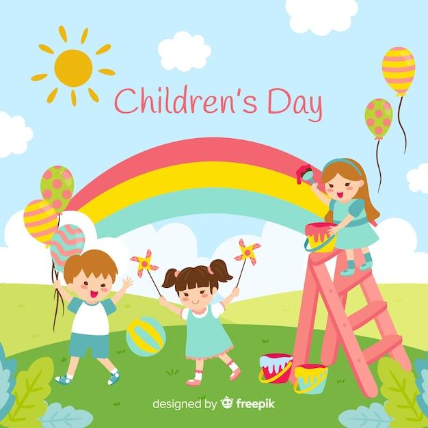 Fond De Jour Des Enfants Heureux Au Design Plat Vecteur gratuit