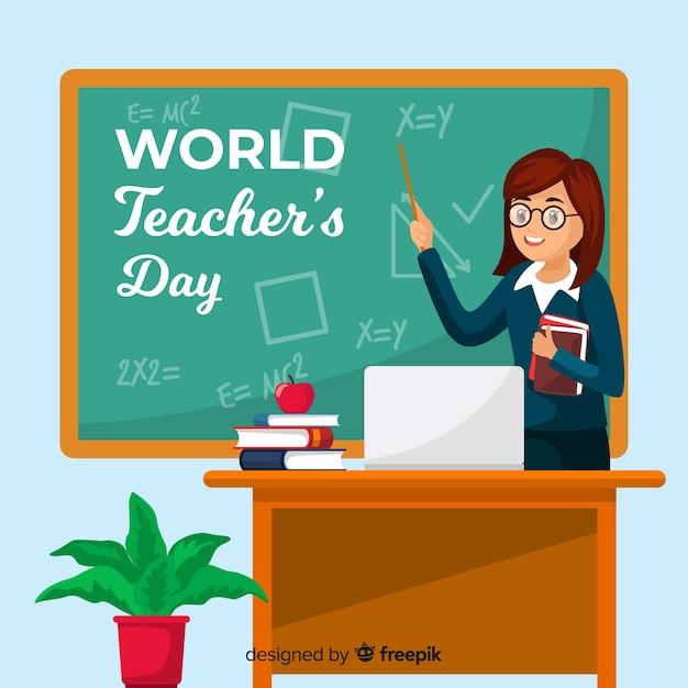 Fond de jour de l'enseignant du monde design plat Vecteur gratuit