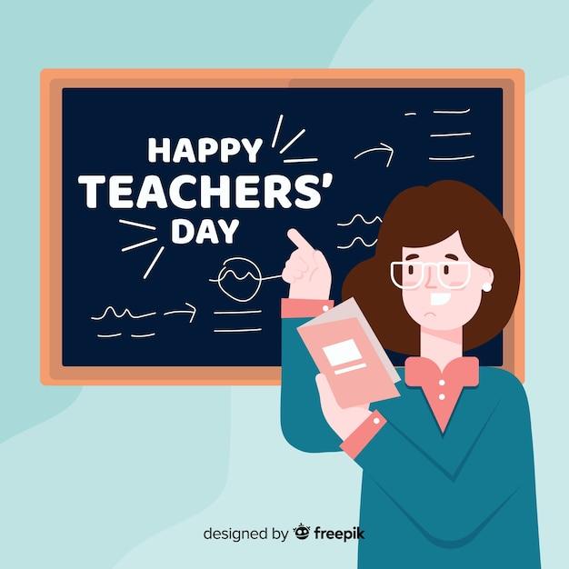 Fond de jour des enseignants de design plat Vecteur gratuit