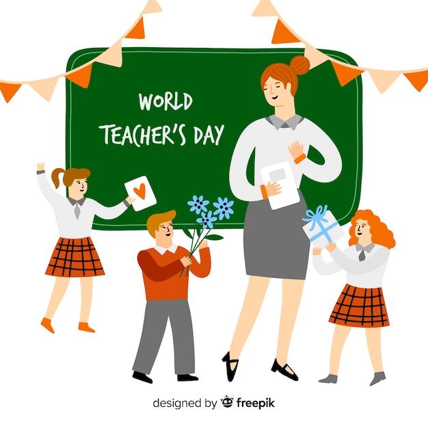 Fond de jour des enseignants dessinés à la main Vecteur gratuit