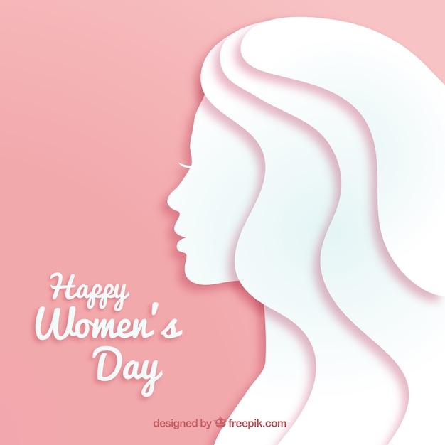 Fond De Jour De La Femme Dans Le Style De Papier Vecteur gratuit