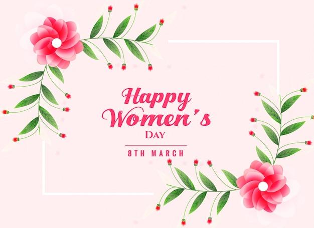 Fond de jour des femmes heureux avec décoration florale Vecteur gratuit