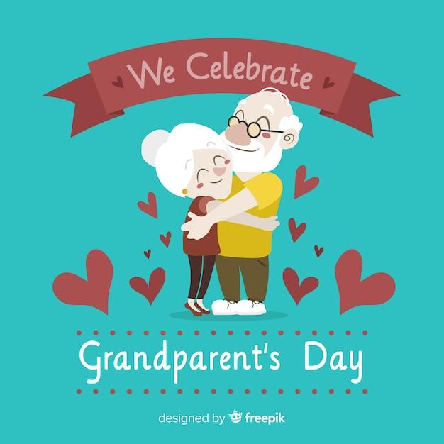 Fond de jour des grands-parents avec des coeurs Vecteur gratuit