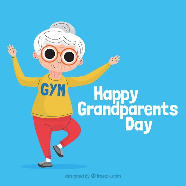 Fond De Jour De Grands-parents Dans Un Style Plat Vecteur gratuit