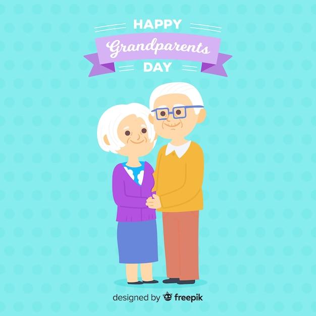 Fond de jour de grands-parents en design plat Vecteur gratuit