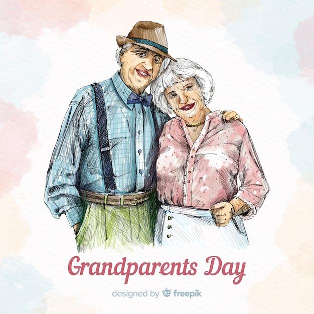 Fond de jour des grands-parents dessinés à la main mignon Vecteur gratuit