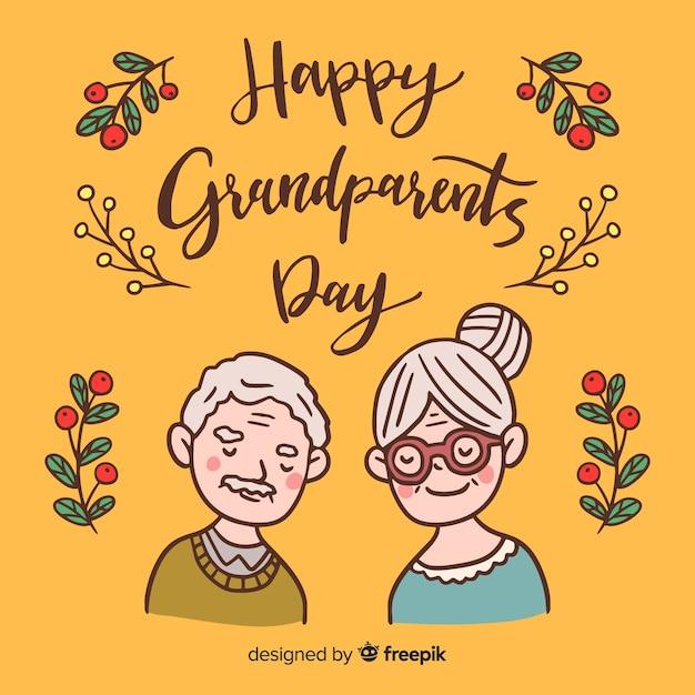 Fond de jour des grands-parents dessinés à la main Vecteur gratuit