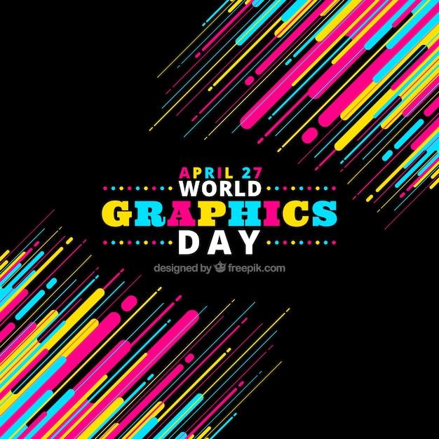 Fond de jour graphique coloré du monde Vecteur gratuit