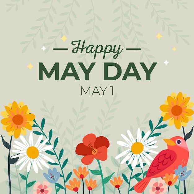 Fond De Jour Heureux Mai Avec Fleurs Et Oiseaux Vecteur gratuit