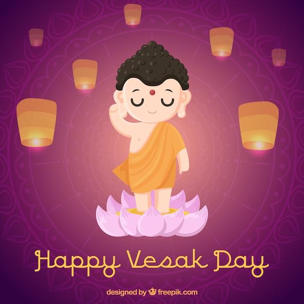 Fond de jour heureux vesak Vecteur gratuit