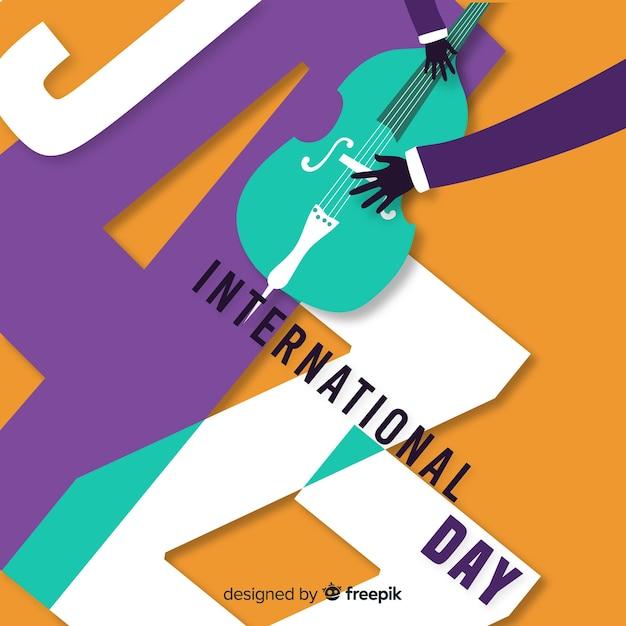 Fond de jour de jazz international dessiné à la main Vecteur gratuit