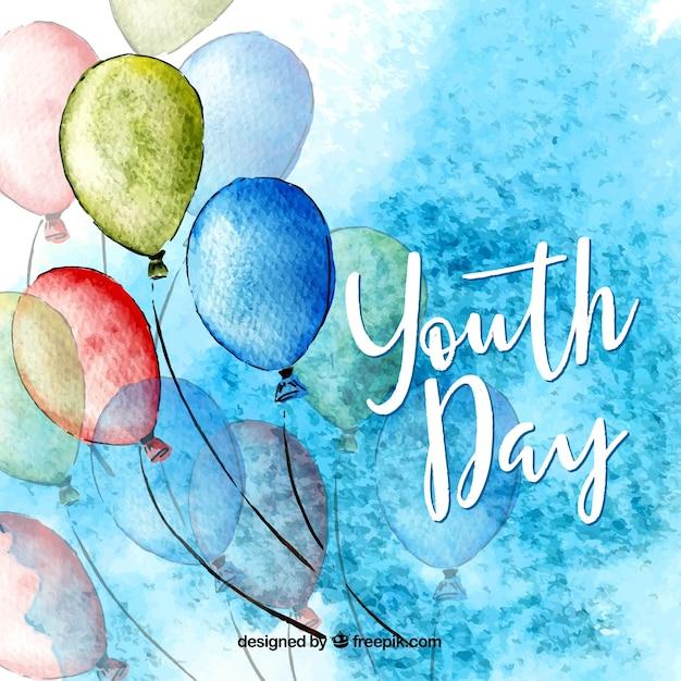 Fond de jour de la jeunesse avec des ballons Vecteur gratuit