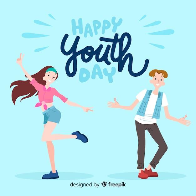 Fond de jour de la jeunesse design dessiné à la main Vecteur gratuit