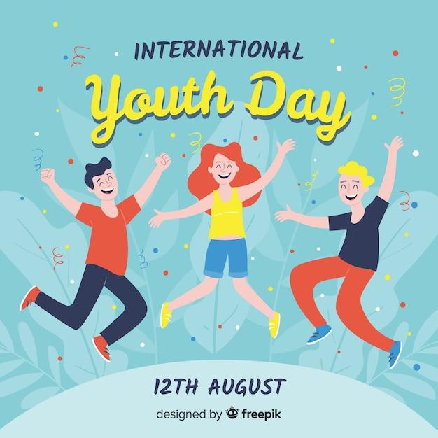 Fond de jour de la jeunesse dessiné à la main Vecteur gratuit