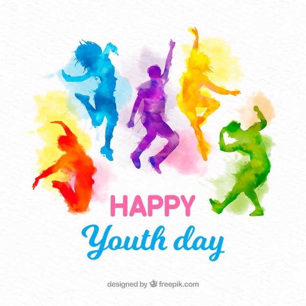 Fond de jour de la jeunesse avec des silhouettes aquarelles Vecteur gratuit