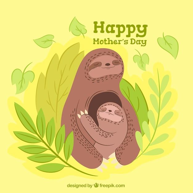 Le fond de jour de mère avec mignon sloths Vecteur gratuit