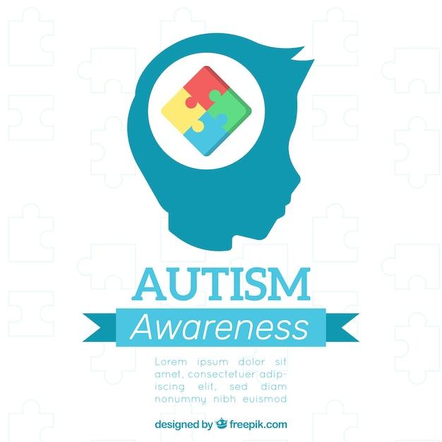 Fond de jour mondiale de l'autisme avec des pièces de puzzle dans le style plat Vecteur gratuit
