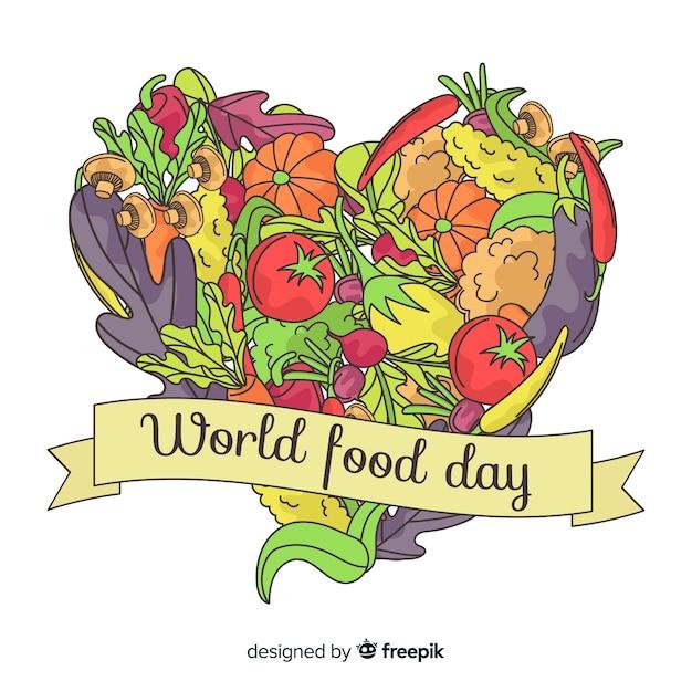 Fond de jour de la nourriture mondiale dessinée à la main Vecteur gratuit