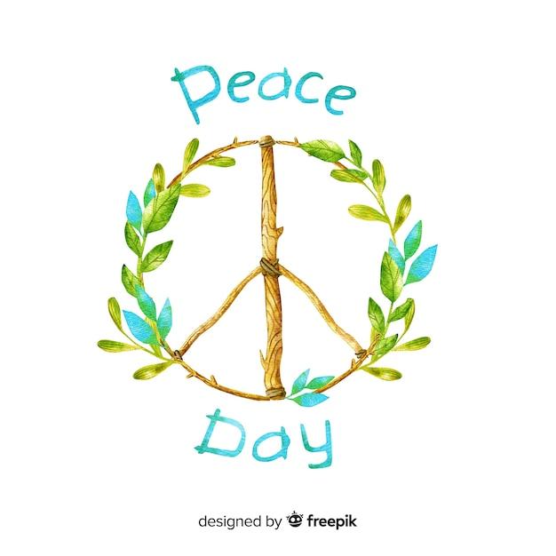 Fond de jour de paix aquarelle Vecteur gratuit