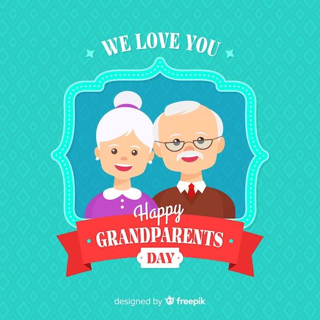 Fond de jour plat grands-parents Vecteur gratuit