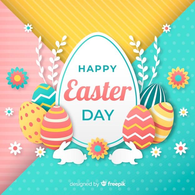 Fond De Jour Plat Joyeuses Pâques Vecteur gratuit
