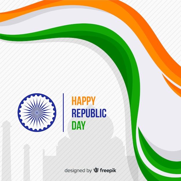 Fond de jour plat république indienne Vecteur gratuit