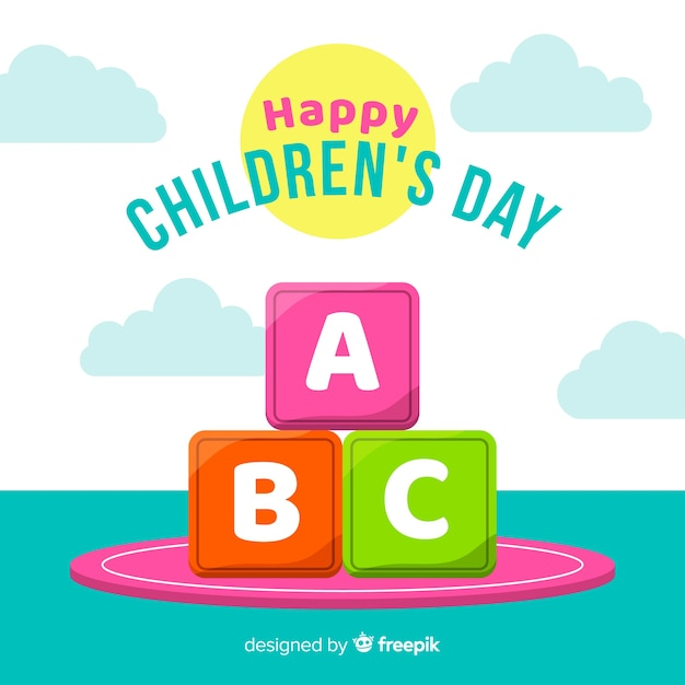 Fond de jour pour enfants design plat Vecteur gratuit