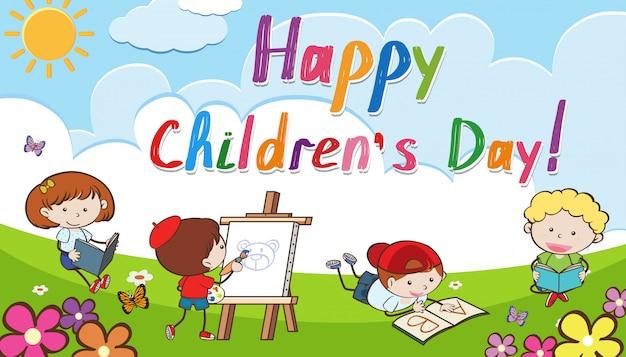 Fond de jour pour enfants heureux Vecteur Premium
