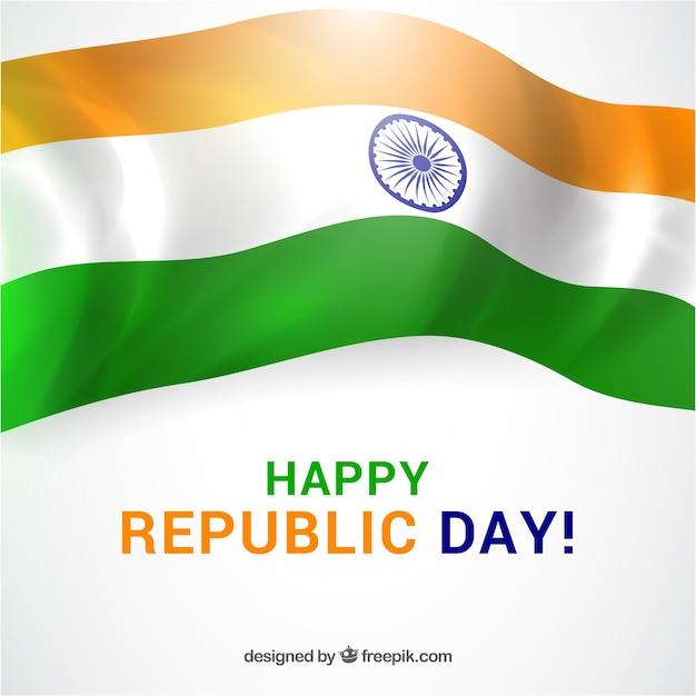 Fond de jour de la république avec drapeau brillant Vecteur gratuit