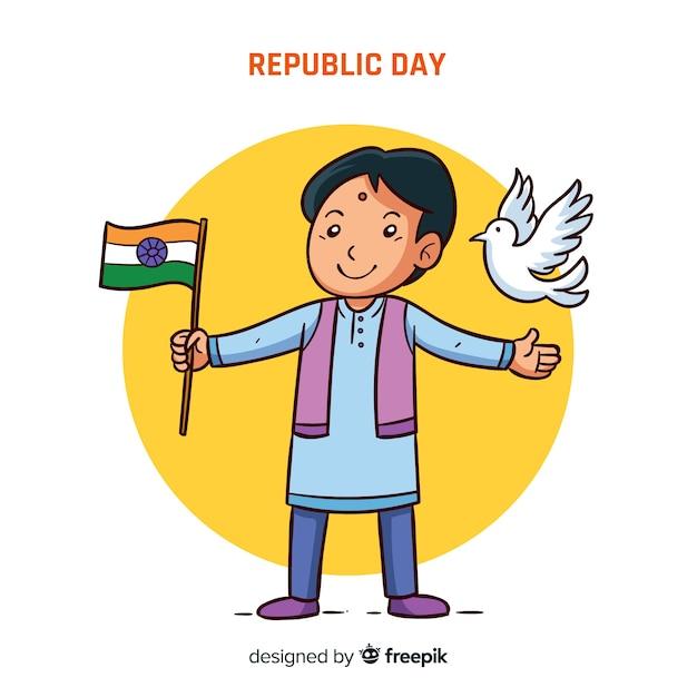 Fond de jour de république indienne dessinés à la main Vecteur gratuit