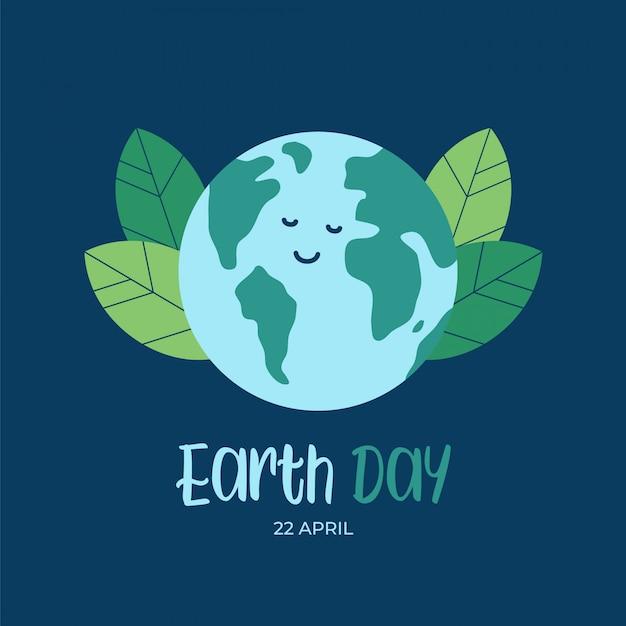 Fond de jour de la terre avec terre de globe plat dessin animé heureux Vecteur Premium