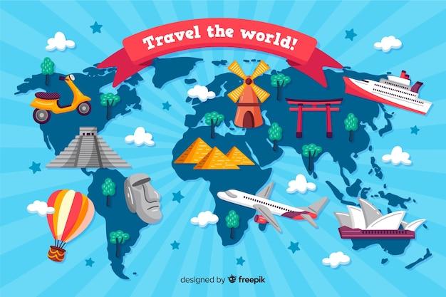 Fond De Jour De Tourisme Dessiné à La Main Vecteur gratuit