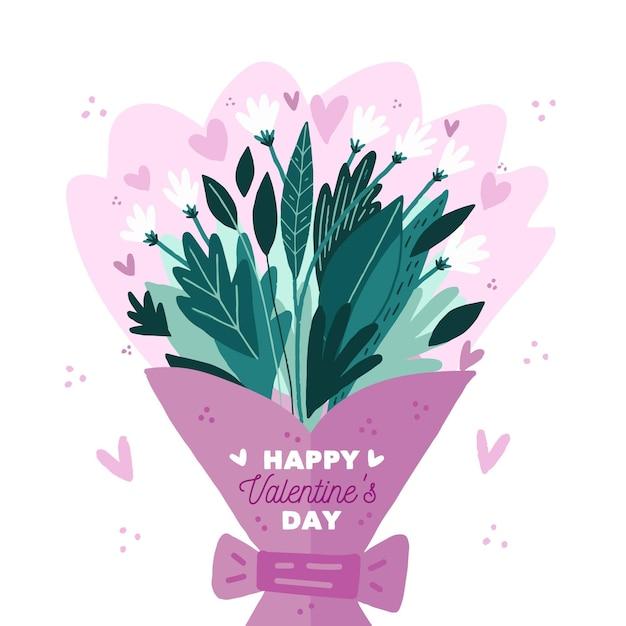 Fond De Jour De Valentines Design Plat Vecteur gratuit