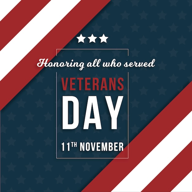 Fond de jour de vétérans design plat Vecteur gratuit